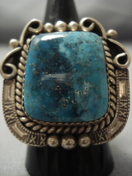 Big Big Big! Navajo Blue Diamond Turquoise Sterling Native American Jewelry Silver Ring