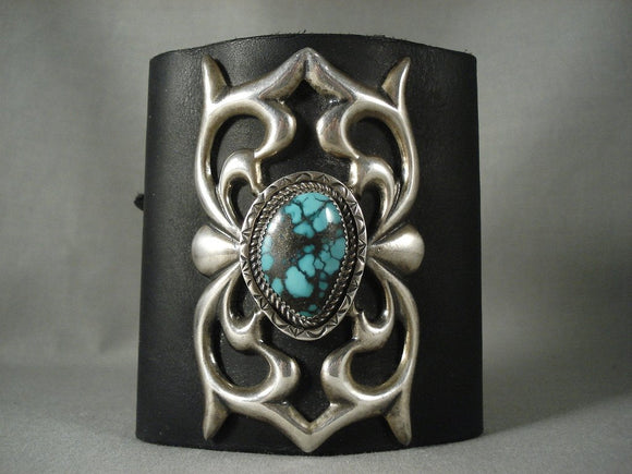 Big Big Big Vintage Navajo Crow Springs Turquoise Native American Jewelry Silver Ketoh Bracelet Old-Nativo Arts