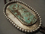 "BIG BIG BIG VINTAGE NAVAJO """"NATURAL NEVADA GREEN TURQUOISE"""" SILVER BOLO TIE-Nativo Arts"
