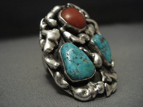 Big Big Big! Vintage Navajo Turquoise Coral Sterling Native American Jewelry Silver Chunk Ring-Nativo Arts