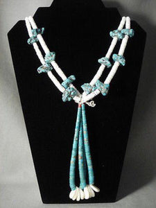 BIG BIG BIG VINTAGE NAVAJO TURQUOISE JACLA NECKLACE OLD-Nativo Arts