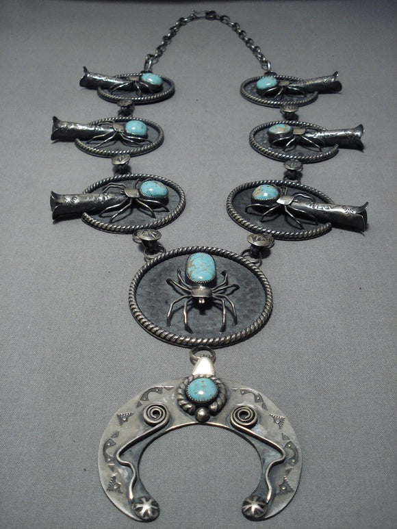 Big Big!! Vintage Navajo Turquoise Sterling Silver Squash Blossom Necklace-Nativo Arts