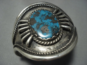 Big Bisbee!! Vintage Navajo Native American Jewelry jewelry Turquoise Sterling Silver Bracelet Old-Nativo Arts