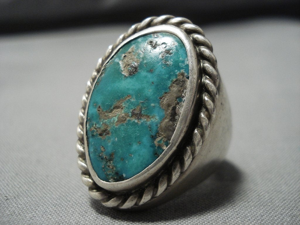 Man/'s Large American Indian Silver /& Turquoise Ring