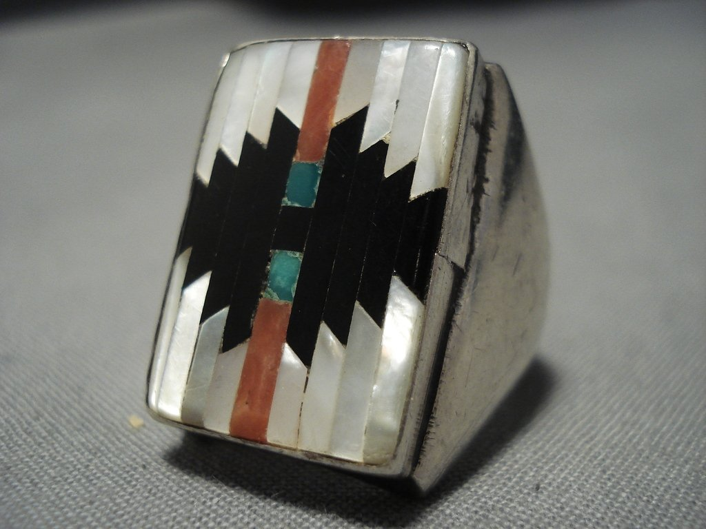 c5ec0800341766 ... Big Men's Vintage Zuni Turquoise Coral Sterling Silver Ring Old Native  American Jewelry-Nativo ...