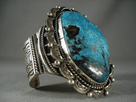 Big Mesmerizing Navajo 'Deep Blue Turquoise' Native American Jewelry Silver Bracelet-Nativo Arts