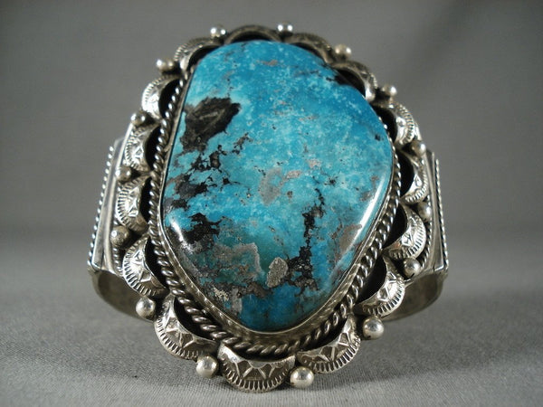 Big Mesmerizing Navajo 'Deep Blue Turquoise' Native American Jewelry Silver Bracelet