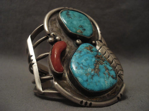 Big Old 1960's Vintage Navajo Turquoise Coral Native American Jewelry Silver Bracelet-Nativo Arts