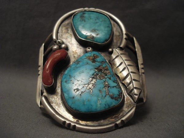 Big Old 1960's Vintage Navajo Turquoise Coral Native American Jewelry Silver Bracelet