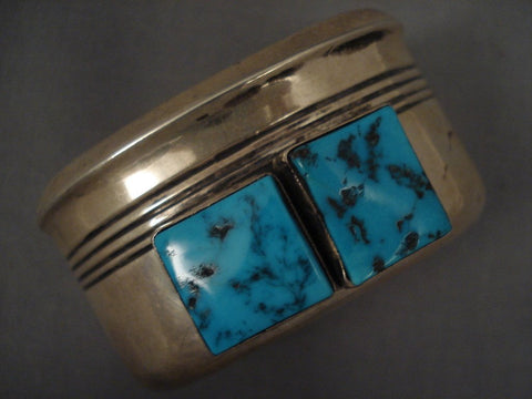 Big Old Navajo squared Turquoise Native American Jewelry Silver Bracelet-Nativo Arts