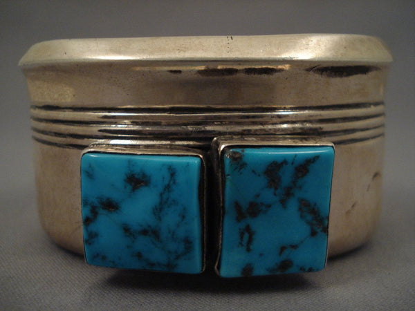 Big Old Navajo squared Turquoise Native American Jewelry Silver Bracelet