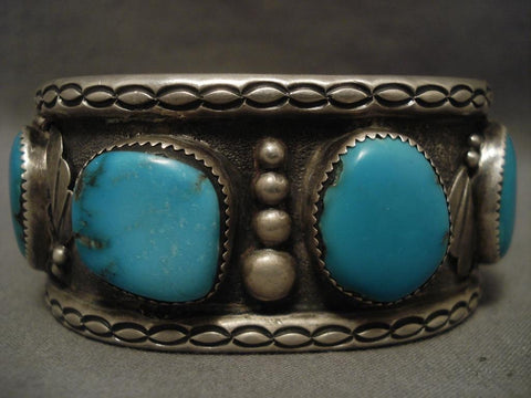 Big Old Vintage Navajo 1950's Turquoise Native American Jewelry Silver Bracelet-Nativo Arts