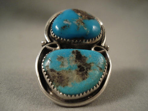 Big Old Vintage Navajo Bisbee Turquoise Native American Jewelry Silver Ring-Nativo Arts