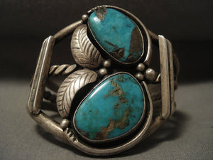 Big Old Vintage Navajo Blue Gem Turquoise Native American Jewelry Silver Bracelet-Nativo Arts