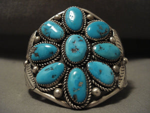 Big Old Vintage Navajo Platero Turquoise Flower Native American Jewelry Silver Bracelet Old-Nativo Arts