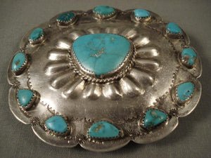 Big Old Vintage Navajo Repoussed Native American Jewelry Silver Turquoise Buckle-Nativo Arts