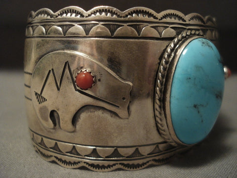 Big Old Vintage Navajo Turquoise Native American Jewelry Silver 'Bear' Bracelet-Nativo Arts