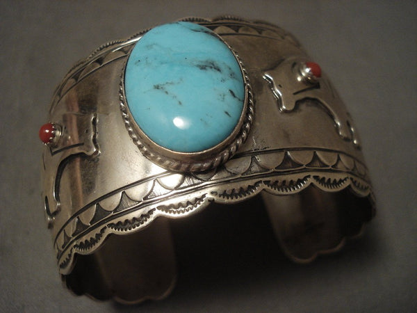 Big Old Vintage Navajo Turquoise Native American Jewelry Silver 'Bear' Bracelet