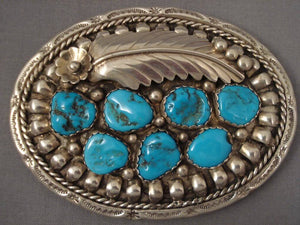 Big Old Zuni/ Navajo Blue Gem Turquoise Native American Jewelry Silver Belt Buckle-Nativo Arts