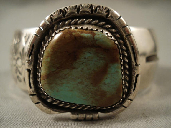 Big Vintage Navajo Old Royston Turquoise Native American Jewelry Silver Bracelet-Nativo Arts