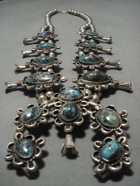 Bisbee Turquoise Sterling Silver Vintage Native American Navajo Squash Blossom Necklace Old-Nativo Arts