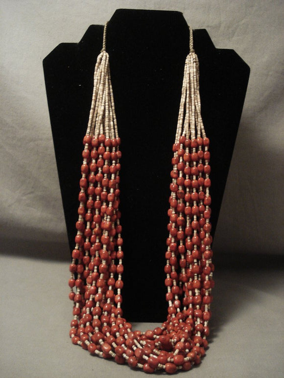 Blood Red Navajo Native American Jewelry jewelry Coral Necklace-Nativo Arts