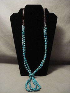 BREATHTAKING VINTAGE SANTO DOMINGO TURQUOISE JACLA NECKLACE OLD-Nativo Arts