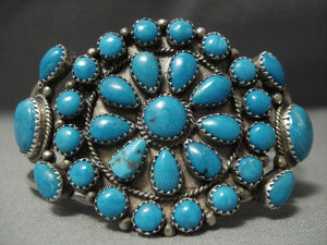 Bright Sky Turquoise Vintage Navajo Sterling Native American Jewelry Silver Bracelet-Nativo Arts