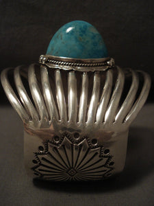 Bulbous Protruding Turquoise Navajo Native American Jewelry Silver 12 Dshank Bracelet-Nativo Arts
