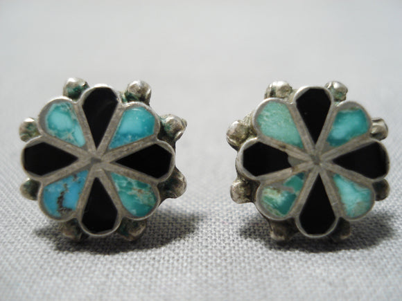 Marvelous Vintage Native American Zuni Royston Turquoise Sterling Silver Earrings Old