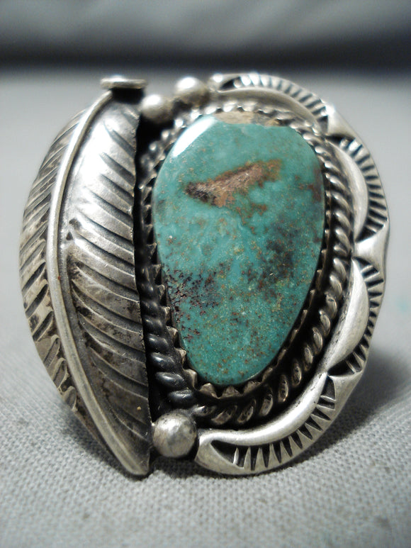 Superb Vintage Navajo Native American Royston Turquoise Sterling Silver Ring Old