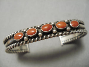 Thicker Vintage Native American Navajo Rope Sterling Silver Coral Bracelet Old