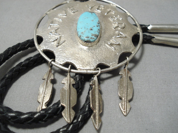 Important Vintage Native American Navajo Veteran Turquoise Sterling Silver Bolo Tie Old