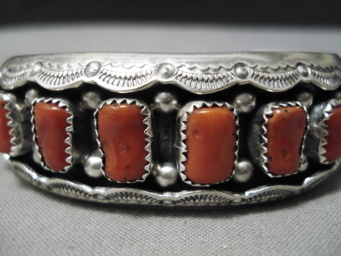 Amazing Chunky Coral Sterling Silver Shadowbox Native American Bracelet