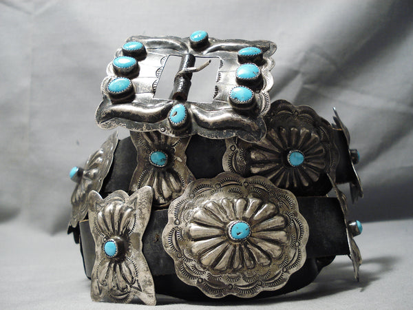 Hand Wrought Vintage Native American Navajo Turquoise Sterling Silver Concho Belt Old