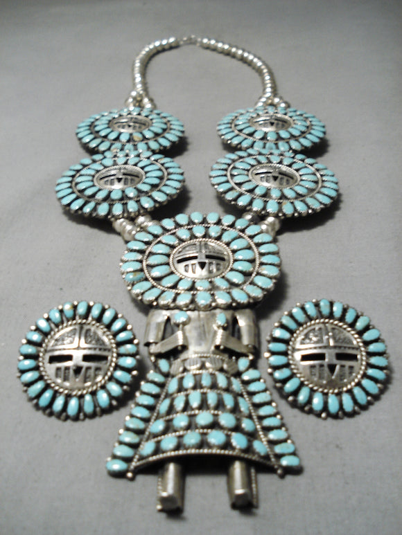 Rare Vintage Native American Navajo Kachina Turquoise Sterling Silver Squash Blossom Necklace