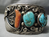 One Of The Best Vintage Native American Navajo Leaf Turquoise Coral Sterling Silver Bracelet Old