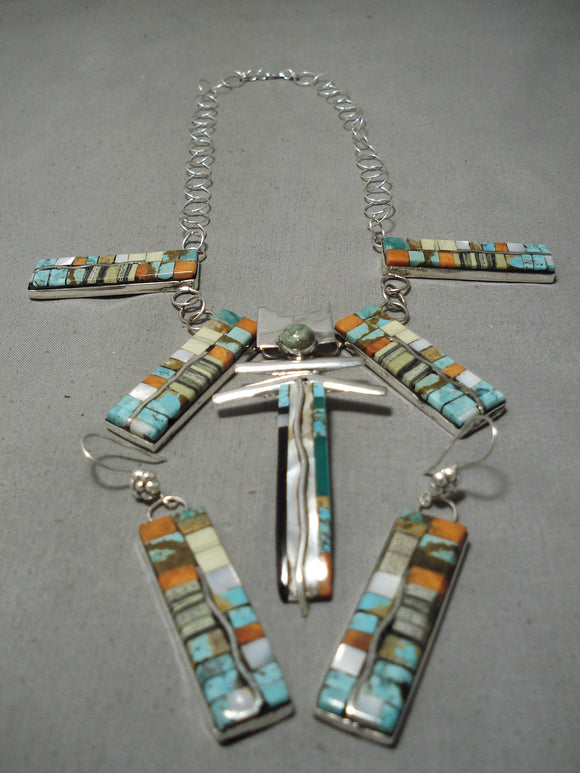 Native American Exquisite Santo Domingo Turquoise & Coral Sterling Silver Necklace & Earring Set