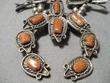 Statement Vintage Native American Navajo Coral Sterling Silver Squash Blossom Necklace Old