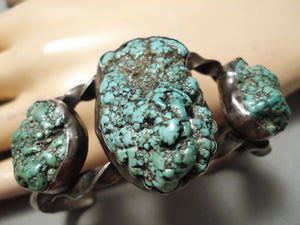 Huge Heavy Chunky Green Turquoise Vintage Native American Navajo Sterling Silver Bracelet