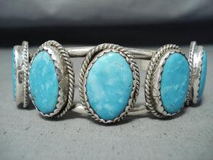 Beautiful Vintage Native American Navajo Old Kingman Turquoise Sterling Silver Bracelet