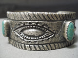 So Heavy Native American Navajo Turquoise Sterling Silver Repoussed Bracelet Cuff