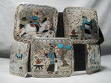 One Of The Best Detailed Vintage Native American Navajo Turquoise Sterling Silver Concho Belt