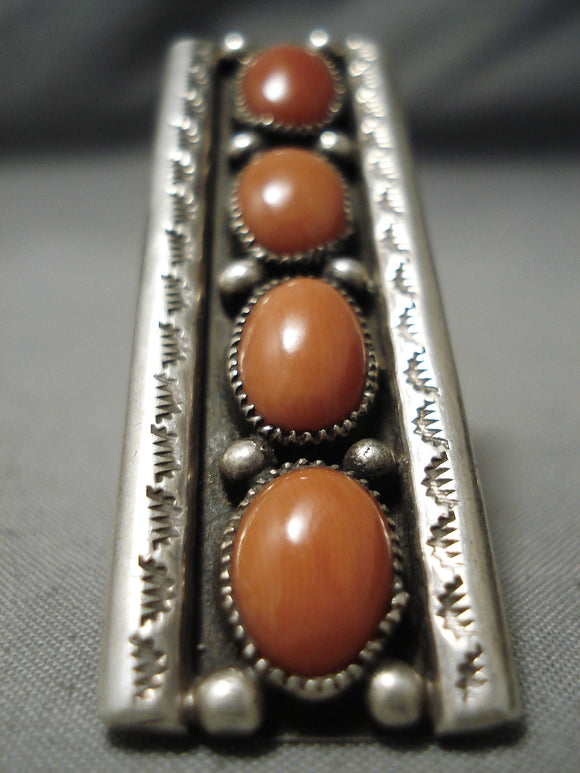 One Of The Biggest Vintage Native American Navajo Domed Coral Sterling Silver Ring