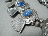Signed Women's Vintage Native American Navajo Lapis Sterling Silver Squash Blossom Necklace