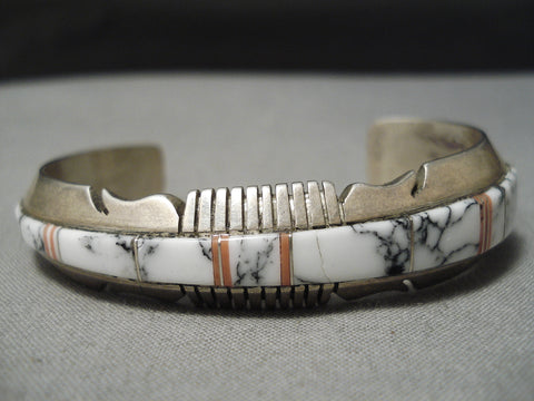 Amazing Vintage Native American Navajo White Buffalo Turquoise Sterling Silver Bracelet Old