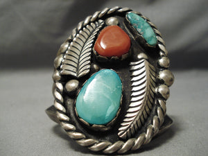 Big Over 100 Gram Vintage Native American Navajo Green Turquoise Coral Sterling Silver Bracelet