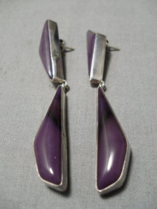 Longer Vintage Native American Navajo Sugulite Sterling Silver Juan Willie Earrings