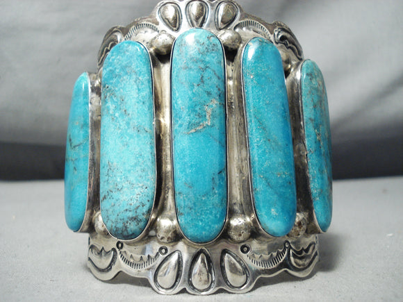 Best Vintage Native American Navajo Long Turquoisesterling Silver Bracelet Old