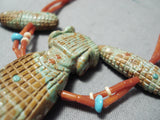 Important Vintage Native American Zuni Sandra Quandelacy Turquoise Sterling Silver Necklace